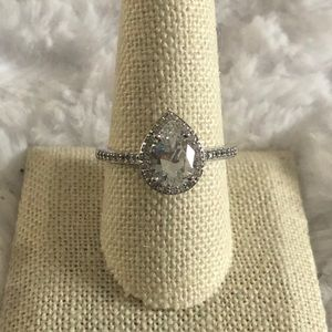 Teardrop halo silver solitaire ring size 10 JTV